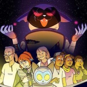 Move-style poster with Deafverse logo at the top. Below, illustrated versions of Deafverse's cast and Catbot read a book, while a large Evil Catbot looms in the background.