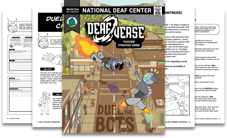 Several pages from the Deafverse players guide.